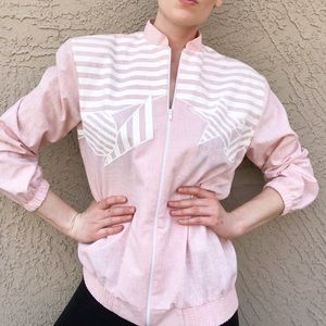 VTG 80s or 90s Pale Pink Geometric Cotton Jacket